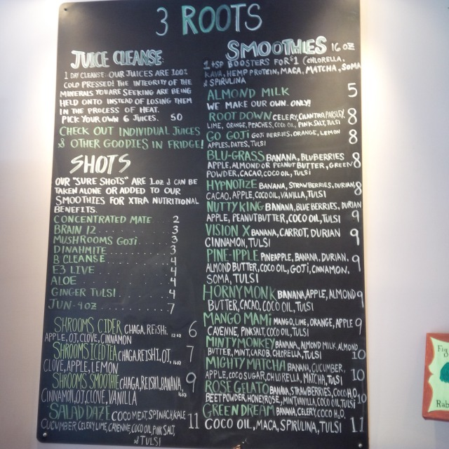 3 ROOTS Menu (Superfood shots, smoothies, juicess)