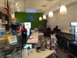 Showing the Space at Grass Roots Juicery in Brooklyn. They have centrifuge (non-organic) juice at a lower price point, and a fridge full of 100% organic cold-pressed juice. Their prices are very reasonable. They also do coffee.