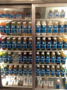 Cold-press juice fridge at Grass Roots Juicery in Brooklyn. Many interesting and novel combinations. I really liked the cold pressed blood orange juice. 100% organic in this fridge. The juice recipes were developed by nutritionists as health elixirs/