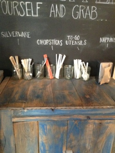 At Gingersnaps Organic in the Lower East Side, they are warm and welcoming. I really liked this wall chalkboard paint to help customers find the utensils they are looking for.